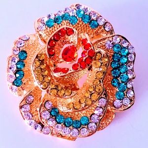 NEW! COLORFUL CRYSTAL FLORAL BRIGHT GOLDEN BROOCH